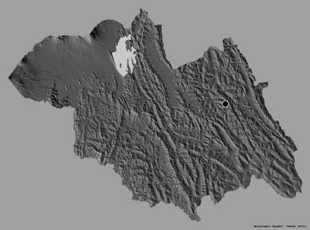 Shape of Amajyaruguru, province of Rwanda, with its capital isolated on a solid color background. Bilevel elevation map. 3D rendering