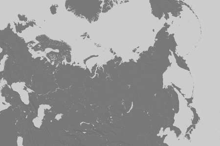 Extended area of Russia. Bilevel elevation map. 3D rendering