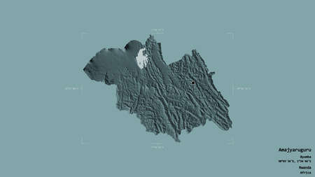 Area of Amajyaruguru, province of Rwanda, isolated on a solid background in a georeferenced bounding box. Labels. Colored elevation map. 3D rendering