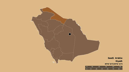 Desaturated shape of Saudi Arabia with its capital, main regional division and the separated Al Hudud ash Shamaliyah area. Labels. Composition of patterned textures. 3D rendering