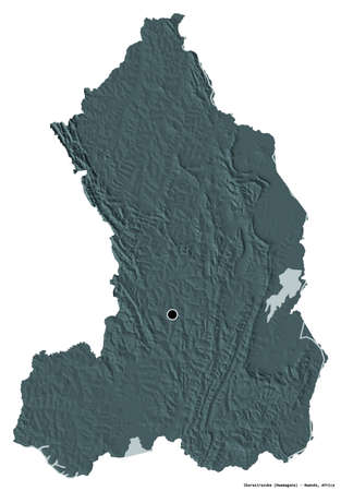 Shape of Iburasirazuba, province of Rwanda, with its capital isolated on white background. Colored elevation map. 3D rendering