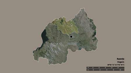 Desaturated shape of Rwanda with its capital, main regional division and the separated Amajyaruguru area. Labels. Satellite imagery. 3D rendering