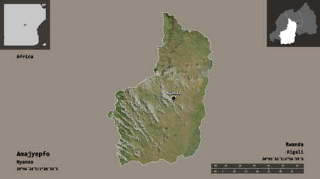 Shape of Amajyepfo, province of Rwanda, and its capital. Distance scale, previews and labels. Satellite imagery. 3D rendering Archivio Fotografico