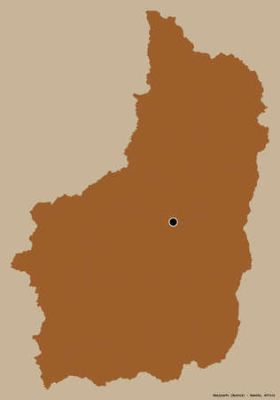 Shape of Amajyepfo, province of Rwanda, with its capital isolated on a solid color background. Composition of patterned textures. 3D rendering Archivio Fotografico