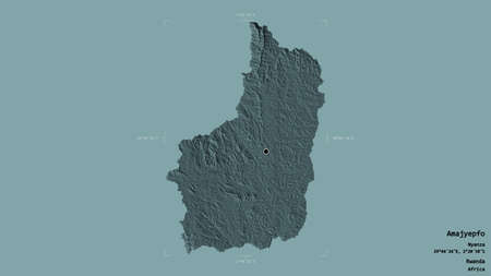 Area of Amajyepfo, province of Rwanda, isolated on a solid background in a georeferenced bounding box. Labels. Colored elevation map. 3D rendering Archivio Fotografico