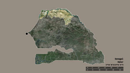 Desaturated shape of Senegal with its capital, main regional division and the separated Saint-Louis area. Labels. Satellite imagery. 3D rendering