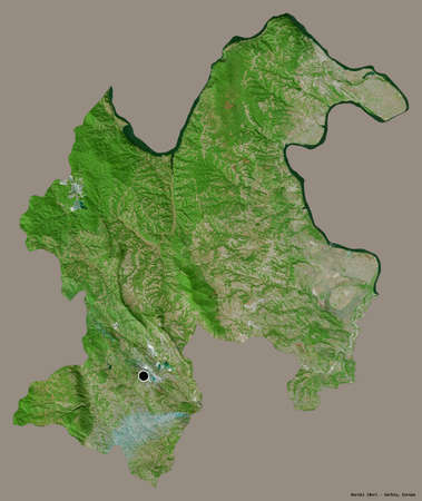 Shape of Borski, district of Serbia, with its capital isolated on a solid color background. Satellite imagery. 3D rendering Stock fotó
