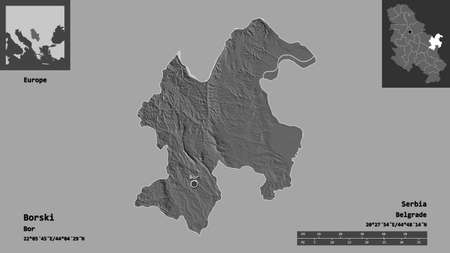 Shape of Borski, district of Serbia, and its capital. Distance scale, previews and labels. Bilevel elevation map. 3D rendering