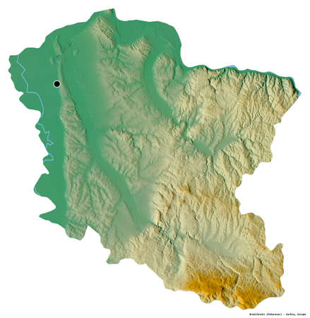 Shape of Braničevski, district of Serbia, with its capital isolated on white background. Topographic relief map. 3D rendering