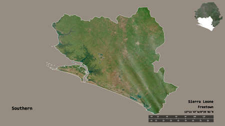 Shape of Southern, province of Sierra Leone, with its capital isolated on solid background. Distance scale, region preview and labels. Satellite imagery. 3D rendering