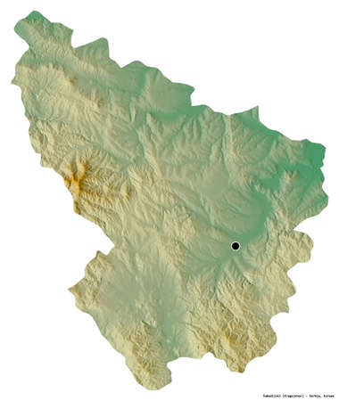 Shape of Åumadijski, district of Serbia, with its capital isolated on white background. Topographic relief map. 3D rendering