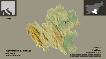 Shape of Jugovzhodna Slovenija, statistical region of Slovenia, and its capital. Distance scale, previews and labels. Topographic relief map. 3D rendering