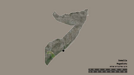 Desaturated shape of Somalia with its capital, main regional division and the separated Jubbada Dhexe area. Labels. Satellite imagery. 3D rendering