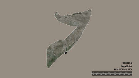 Desaturated shape of Somalia with its capital, main regional division and the separated Banaadir area. Labels. Satellite imagery. 3D rendering