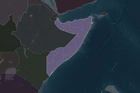 Shape of Somalia separated by the desaturation of neighboring areas. Borders. Colored elevation map. 3D rendering