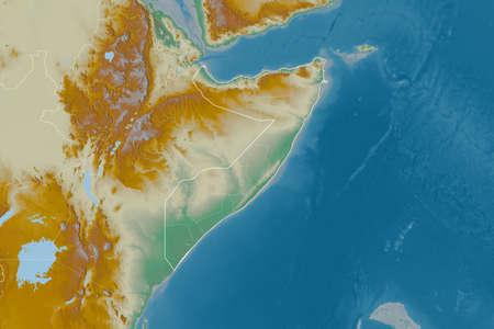 Extended area of Somalia with country outline, international and regional borders. Topographic relief map. 3D rendering