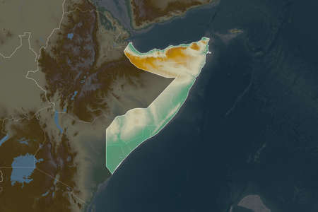 Shape of Somalia separated by the desaturation of neighboring areas. Borders. Topographic relief map. 3D rendering