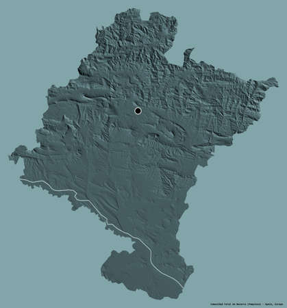 Shape of Comunidad Foral de Navarra, autonomous community of Spain, with its capital isolated on a solid color background. Colored elevation map. 3D rendering