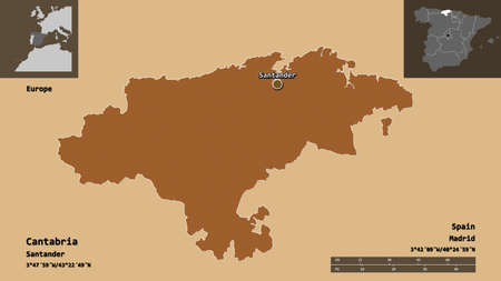 Shape of Cantabria, autonomous community of Spain, and its capital. Distance scale, previews and labels. Composition of patterned textures. 3D rendering Standard-Bild