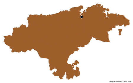 Shape of Cantabria, autonomous community of Spain, with its capital isolated on white background. Composition of patterned textures. 3D rendering Standard-Bild