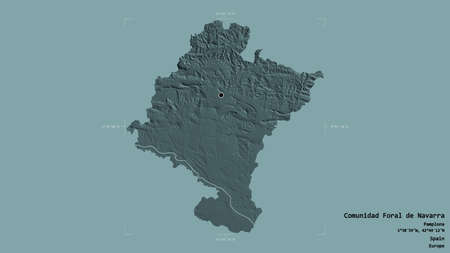 Area of Comunidad Foral de Navarra, autonomous community of Spain, isolated on a solid background in a georeferenced bounding box. Labels. Colored elevation map. 3D rendering