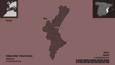 Shape of Comunidad Valenciana, autonomous community of Spain, and its capital. Distance scale, previews and labels. Colored elevation map. 3D rendering