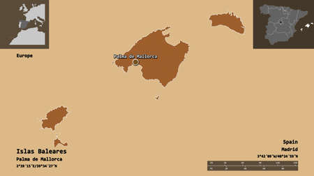 Shape of Islas Baleares, autonomous community of Spain, and its capital. Distance scale, previews and labels. Composition of patterned textures. 3D rendering