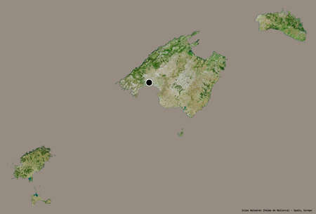 Shape of Islas Baleares, autonomous community of Spain, with its capital isolated on a solid color background. Satellite imagery. 3D rendering