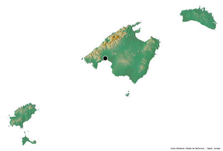 Shape of Islas Baleares, autonomous community of Spain, with its capital isolated on white background. Topographic relief map. 3D rendering