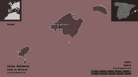 Shape of Islas Baleares, autonomous community of Spain, and its capital. Distance scale, previews and labels. Colored elevation map. 3D rendering