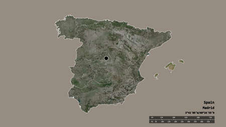 Desaturated shape of Spain with its capital, main regional division and the separated Islas Baleares area. Labels. Satellite imagery. 3D rendering