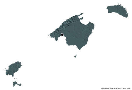 Shape of Islas Baleares, autonomous community of Spain, with its capital isolated on white background. Colored elevation map. 3D rendering 版權商用圖片