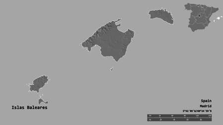Shape of Islas Baleares, autonomous community of Spain, with its capital isolated on solid background. Distance scale, region preview and labels. Bilevel elevation map. 3D rendering 版權商用圖片