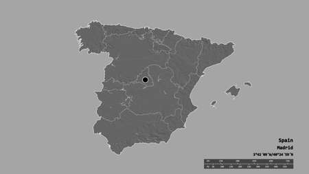Desaturated shape of Spain with its capital, main regional division and the separated Islas Baleares area. Labels. Bilevel elevation map. 3D rendering 版權商用圖片