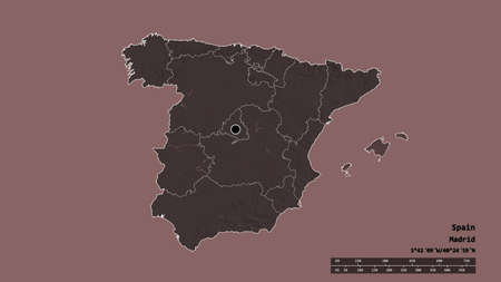 Desaturated shape of Spain with its capital, main regional division and the separated Islas Baleares area. Labels. Colored elevation map. 3D rendering 版權商用圖片