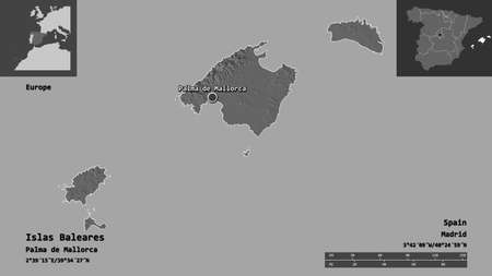 Shape of Islas Baleares, autonomous community of Spain, and its capital. Distance scale, previews and labels. Bilevel elevation map. 3D rendering