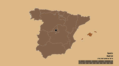 Desaturated shape of Spain with its capital, main regional division and the separated Islas Baleares area. Labels. Composition of patterned textures. 3D rendering 版權商用圖片