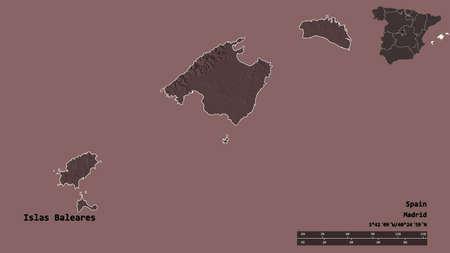 Shape of Islas Baleares, autonomous community of Spain, with its capital isolated on solid background. Distance scale, region preview and labels. Colored elevation map. 3D rendering