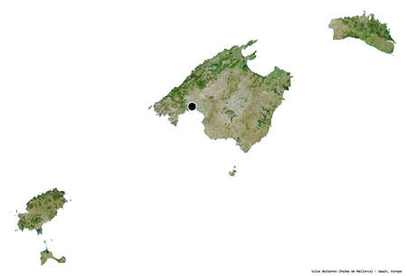 Shape of Islas Baleares, autonomous community of Spain, with its capital isolated on white background. Satellite imagery. 3D rendering 版權商用圖片