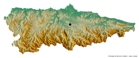 Shape of Principado de Asturias, autonomous community of Spain, with its capital isolated on white background. Topographic relief map. 3D rendering Imagens