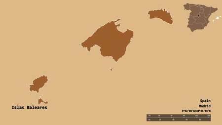 Shape of Islas Baleares, autonomous community of Spain, with its capital isolated on solid background. Distance scale, region preview and labels. Composition of patterned textures. 3D rendering