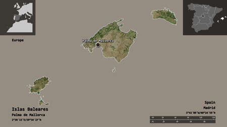 Shape of Islas Baleares, autonomous community of Spain, and its capital. Distance scale, previews and labels. Satellite imagery. 3D rendering 版權商用圖片