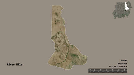 Shape of River Nile, state of Sudan, with its capital isolated on solid background. Distance scale, region preview and labels. Satellite imagery. 3D rendering Stok Fotoğraf
