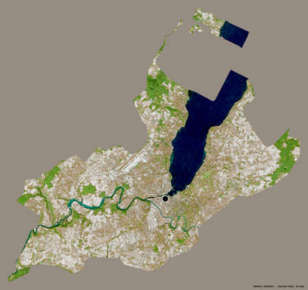 Shape of Genève, canton of Switzerland, with its capital isolated on a solid color background. Satellite imagery. 3D rendering