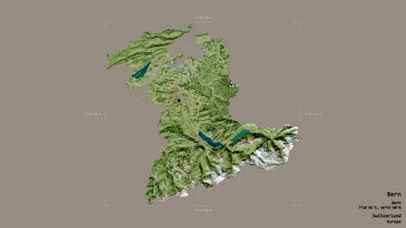 Area of Bern, canton of Switzerland, isolated on a solid background in a georeferenced bounding box. Labels. Satellite imagery. 3D rendering Banque d'images