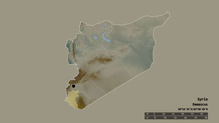 Desaturated shape of Syria with its capital, main regional division and the separated Dar area. Labels. Topographic relief map. 3D rendering