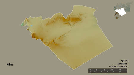 Shape of Hims, province of Syria, with its capital isolated on solid background. Distance scale, region preview and labels. Topographic relief map. 3D rendering