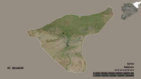 Shape of Al Ḥasakah, province of Syria, with its capital isolated on solid background. Distance scale, region preview and labels. Satellite imagery. 3D rendering