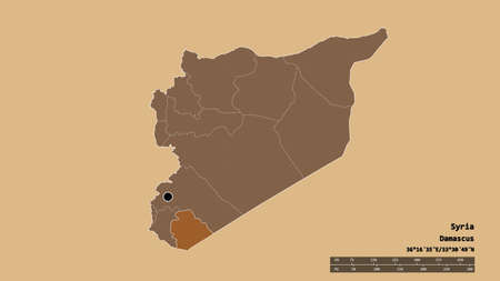 Desaturated shape of Syria with its capital, main regional division and the separated As Suwayda' area. Labels. Composition of patterned textures. 3D rendering