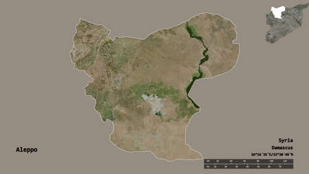 Shape of Aleppo, province of Syria, with its capital isolated on solid background. Distance scale, region preview and labels. Satellite imagery. 3D rendering